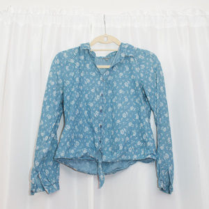 Charlotte Russe Floral Chambray Cotton Button Down